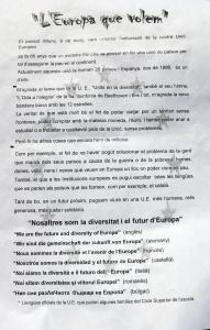 Detall del manifest del Dia d'Europa elaborat pels alumnes de l'escola Saavedra.